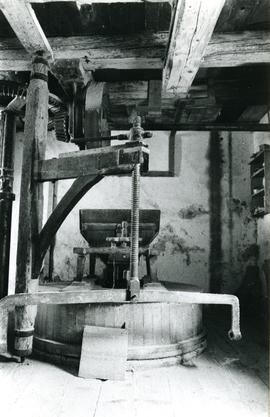 Photograph of the millstone setup, Vuillafans watermill, France