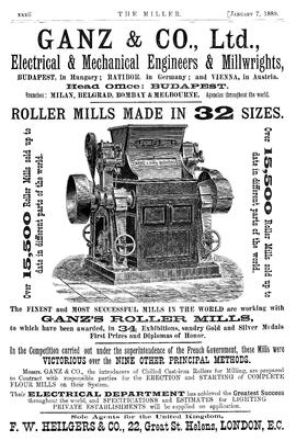 Advert for Ganz & Co who pioneered the use of chilled cast-iron rolls