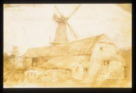 Painting of smock mill and barns by Constable