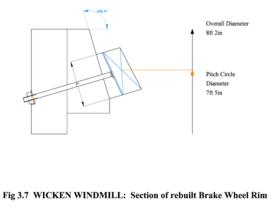 Wicken Windmill: Section of rebuilt Brake Wheel Rim