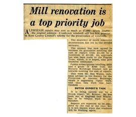 """Mill renovation is a top priority job"""