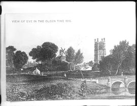 Photograph of engraving, Castle Mound Mill, Eye