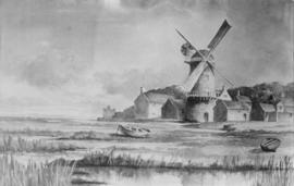 Painting (copy) of Cley Next the Sea Mill with marshes