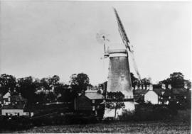 Flixton Road Mill, Bungay, among houses