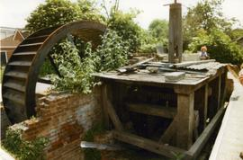 Water wheel, pit wheel, wallower, spur wheel and vertical shaft, Periwinkle Mill, Milton Regis