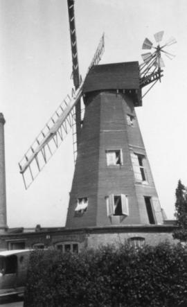 View of mill and chimney, smock mill, Newington, Ramsgate