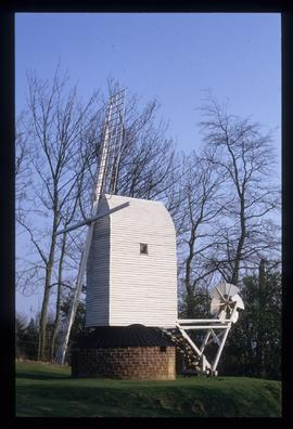 Model post mill, complete and in good repair except for two sail frames