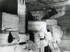 Stones and hoppers in a magpie mill on Luhtas-Köykkä farm in Luopajärvi, Jalasjärvi, South Bothnia