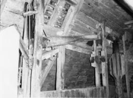 Sack hoist operating lever and pulley, Burcombe Mill, South Newton