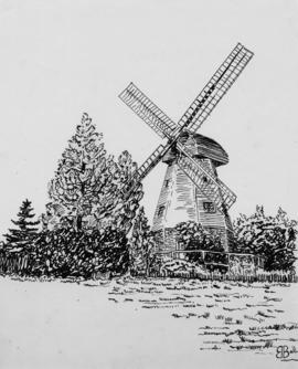 Pen and ink print of mill