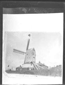 South Malling Mill, Lewes, in working order with Union Jack flag flying from uppermost sail