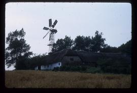 Large metal windmill of skeleton design