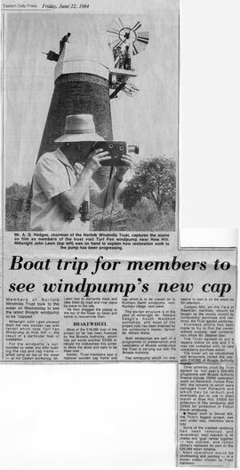 """Boat trip for members to see windpump's new cap"""