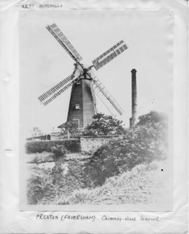 Smock mill, Preston, Faversham, with shortened adjacent chimney stack