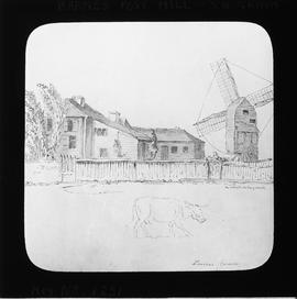 Photograph of drawing, post mill, Barnes Common
