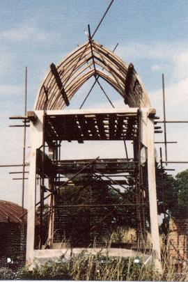 Post mill, Chinnor, with roof shown during construction