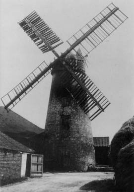 West Butterwick Windmill Derelict with broken fan and damaged cap