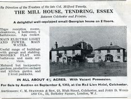 Newspaper cutting re. Mill House, Tendring, Essex
