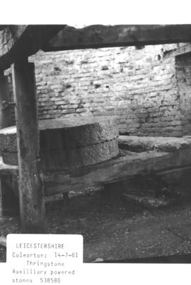 Auxiliary powered stones in the ruined tower mill in Thringstone, near Coleorton, Leicestershire