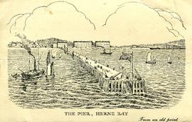 Herne Bay pier from an old print with windmill on shore