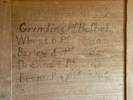 Charges for grinding and dressing painted on a bolter case in Arrow Mill, Kingsland, Herefordshire