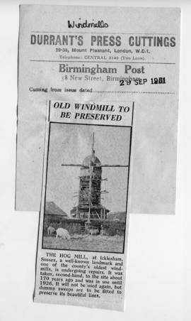 """Old Windmill to be Preserved"""