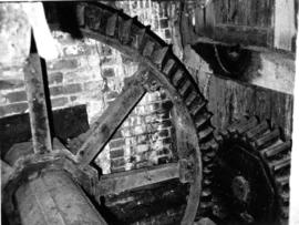 Pit wheel and drive to lower counter shaft, watermill, Nether Wallop