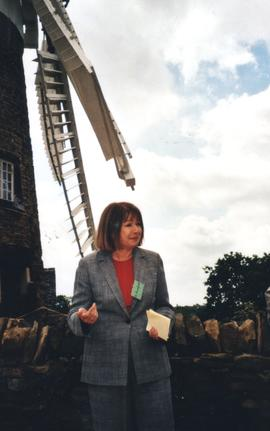 Kathy Rochford giving a speech to open Heage Tower Mill