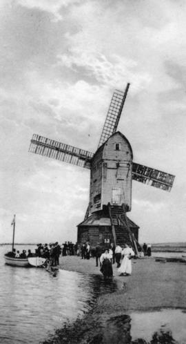 Post mill, Walton on the Naze, by the water edge