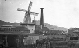 Buildings with mill and chimney in background, Buckland Brewery Mill, Dover