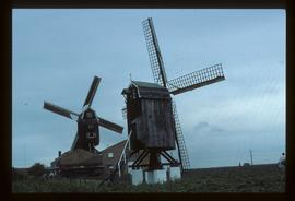 Pair of preserved post mills with sails
