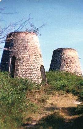 Postcard of Betty's Hope sugar mills, Antigua