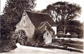 Doveridge Mill, Uttoxeter, and wheel, with man and child
