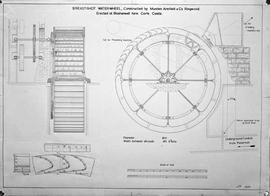Copy of an elevation and detail drawing probably by J Addison of the breastshot wheel