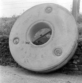 Detailed view of a millstone of the Heller Patent type, West Mill Farm Mill, Stalbridge