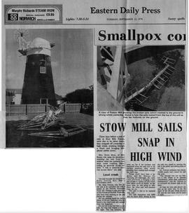 """Stow Mill sails snap in high wind"""