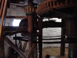 View of spout floor showing auxiliary and governor drives, Knowle Mill, Bembridge