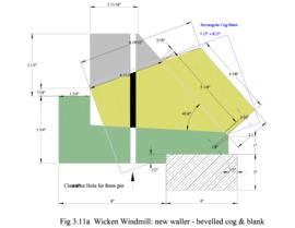 Wicken Windmill: New Waller - bevelled cog and blank