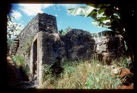 Ruined stone watermill building