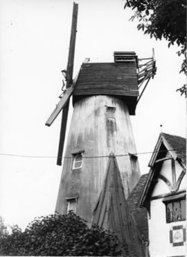 St Martin's Mill, Canterbury, with stocks and part fantail stage, no sweeps or fantail