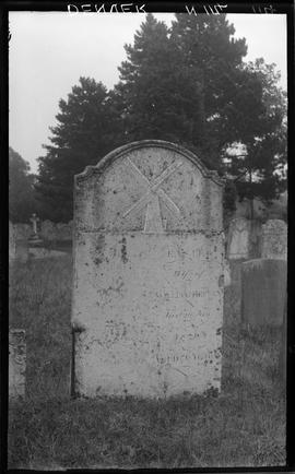 Churchyard at Denver showing headstone with mill inscription