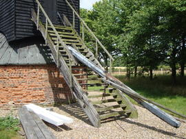 Ladder and tailpole, Six Mile Bottom Mill, Burrough Green