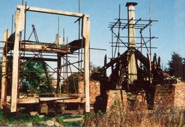Trestle with buck shown during assembly at ground level, post mill, Chinnor