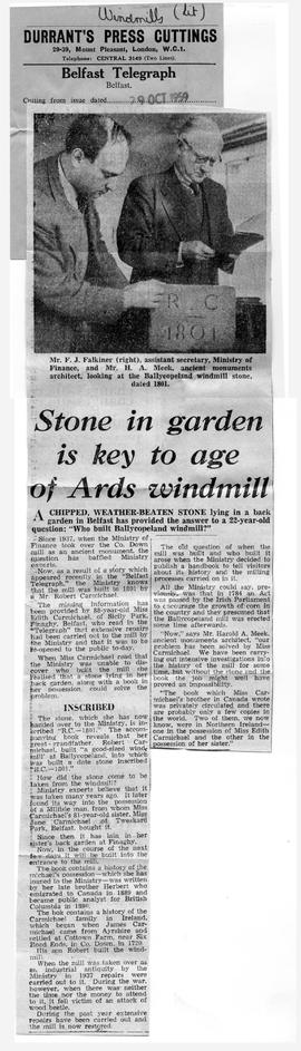 """Stone in garden is key to age of Ards windmill"""