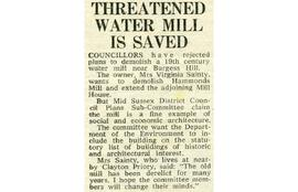 """Threatened water mill is saved"""