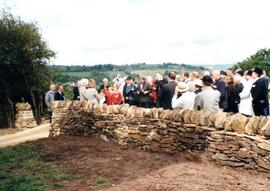 A large crowd of invited guests gathering for the opening of Heage Tower Mill.