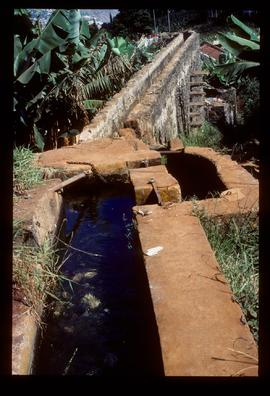 Stone trough, serving as watercourse of watermill, seen from above