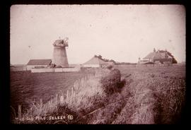 Medmerry Mill, Selsey, derelict, with cap and remains of fantail