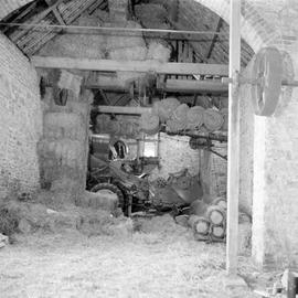 Interior with belt drive wheel on right-hand wall, Blashenwell Farm Wheel, Corfe Castle