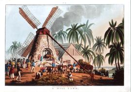 Photograph of a postcard depicting a Mill Yard in Antigua